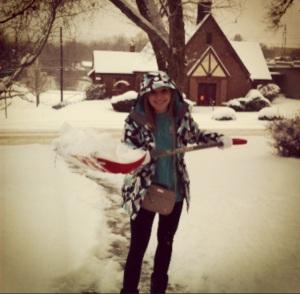 Presley shoveling